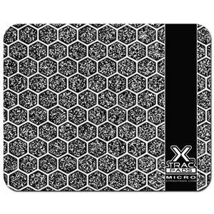 XTracGear Micro plastic surface portable sized mouse pad. Plastic surface for mouse speed and Hi Def hex pattern designed for enhanced mouse cursor accuracy.
