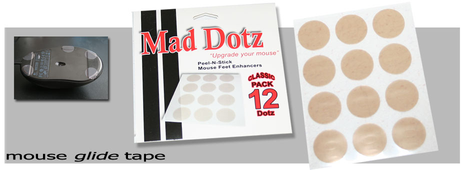 Mad Dotz computer mouse glide tape pre-cut into easy to peel and stick dotz.